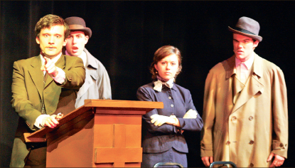 Who's who — The five person cast of The 39 Steps adopt multiple characters throughout the play. Photo credit: Ruth Bibby