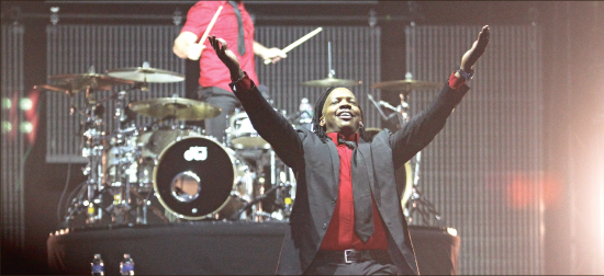 A great return — The Newsboys took stage, March 24, for the God's Not Dead Tour, featuring bands City Harmonic, Abandon and Liberty alumni Anthem Lights. Photo credit: Alyssa Bockman
