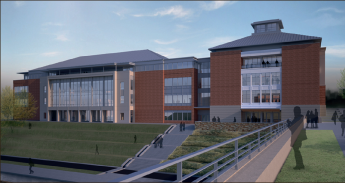 Architecture — A rendition of what the lakeside view of the library will look like. Liberty University graphic