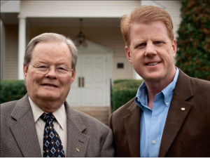 Happy birthday — Harold Willmington (left) poses with Jonathan Falwell (right) for a photo. Photo provided