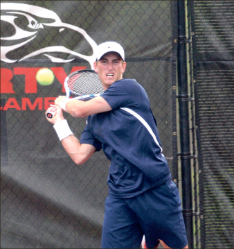 Moving forward — Tristan Stayt and the men's tennis team looks forward to travel to Farmville and face the Longwood Lancers Tuesday. Photo credit: Ruth Bibby