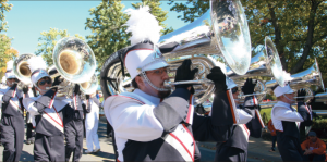 In Step — The Liberty University Marching Band will be rewarded for all its preparation Saturday night during the Flames home opener football game. Photo credit: Ruth Bibby