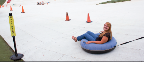 Snowflex — A Liberty student enjoys herself at Snowflex's tubing run. Photo credit: Sarah Nguyen