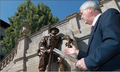 The Doughboy — Lynchburg Museum system director Dough Harvey held the bayonet that broke off the statue in downtown Lynchburg. Office of Promotional Publications