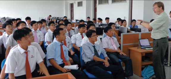 North Korea — Professor Jim Jones taught a group of North Korean students at Pyongyang University of Science and Technology. Photo provided