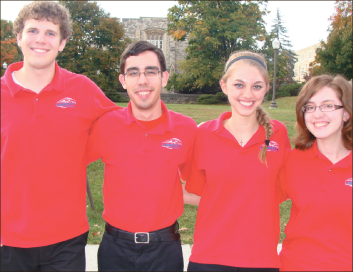 Polos — Quiz Bowl Novice A team members Jon Bateman, Doug Stephens, Abbie Brubaker and Greta Hanks posed after a tournament. Photo provided