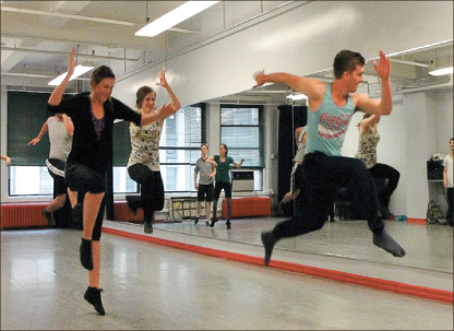 Jump — Students from Liberty's Department of Theatre Arts learn choreography while visiting NYC. Photo provided