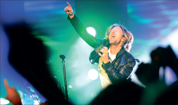 "Vice Verses — Switchfoot lead singer Jon Foreman, originally from San Diego, Calif., performed songs from their newest album, ""Vice Verses,"" Friday night. Photo credit: Ruth Bibby"