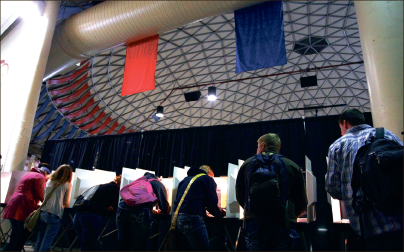 Polls — Close to 3,500 students were active voters at the Vines Center precinct Nov. 6. Photo credit: Ruth Bibby