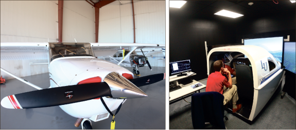 New equipment — The Cessna Skyhawk 888LU (Left) and a flight simulator (Right) are two of the additions to the School of Aeronautics. Photo credit: Ruth Bibby