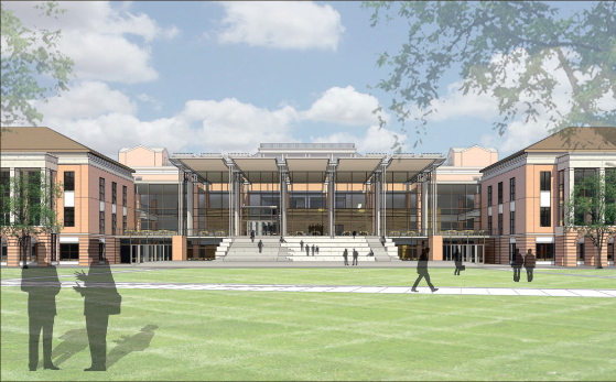 Library — This sketch provides a view from the front of the Jerry Falwell Library, which is under construction behind DeMoss Hall. Photo provided