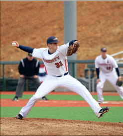 On Fire - Pitcher Matt Marsh delivers a pitch. Marsh had four strikeouts and zero earned runs against Penn State.