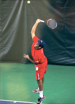 Ace — Egon Samaai won in two sets against Morgan State Friday, Feb. 22. Photo credit: Ruth Bibby