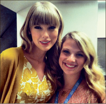 Behind the scenes — McCormick has met celebrities at work, such as Taylor Swift. Photo provided