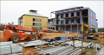 Work — Construction continues  on the multi-million dollar Jerry Falwell Library. Photo credit: Ruth Bibby