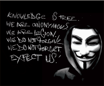 "Bold — Anonymous members are notorious for their ""Guy Fawkes"" masks. Lorraine Murphy, Creative Commons"