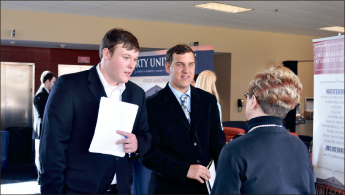 Jobs — Students talked with businesses at a career fair Thursday, Feb. 28. Photo credit: Katie Welch