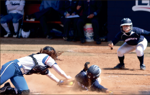 Putting it together — The Lady Flames earned their first sweep of the season against the Blue Hose. Photo credit: Jake Mitchell