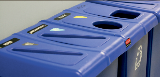Recycling — Bins around campus give students the opportunity to recycle various materials. Photo credit: Ruth Bibby