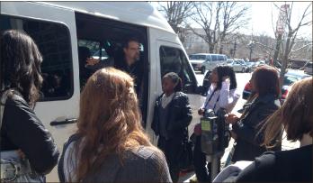 Media Truck — Chris Becker, satellite truck operator, explains his job at Fox News. Photo credit: Deborah Huff