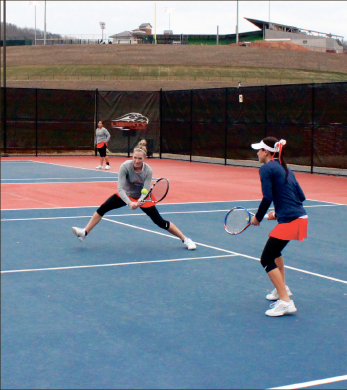 Tag team — Rebekah Jenkins and Nicola Wellman helped Liberty go 2-1 in doubles. Photo credit: Kyle Milligan