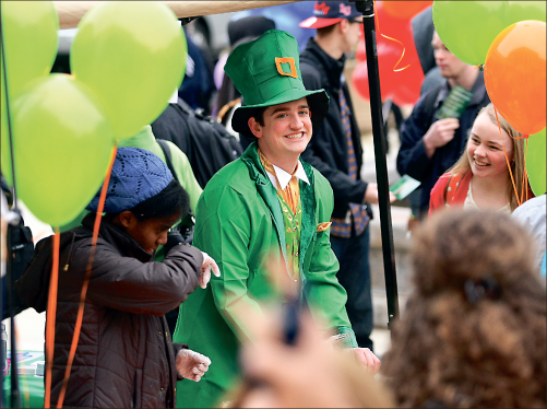 Celebration — Liberty student Austin Edwards aided in bringing Irish spirit to the kickoff Friday, March 1. Photo credit: Ruth Bibby