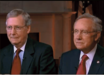 Safe — Senate Minority Leader Mitch McConnell and Senate Majority Leader Harry Reid do not have to worry about their salaries being reduced through the crisis. YouTube screenshot