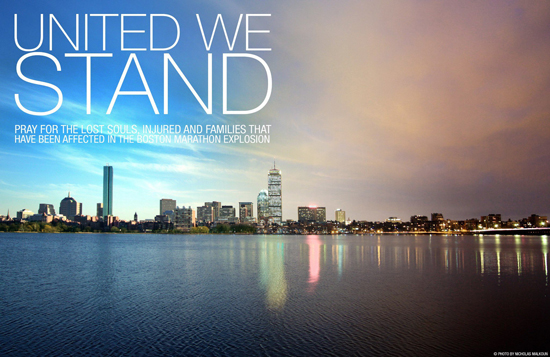 United — Images like this photo by Nicholas Malkoun were passed around on social media in support of blast victims and the city of Boston.