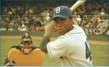 "Dodgers — Chadwick Boseman stars as Jackie Robinson in ""42."" Screenshot, Warner Bros. pictures"