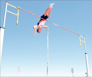 A Cut above — Freshman Ken Ritchey finished fourth in the men's pole vault. Photo credit: Kyle Milligan