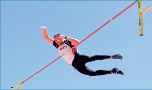 Reaching new heights — Senior Cody Fridgen pole vaulted his way into second place at the Big South Championship. Photo credit: Kyle Milligan