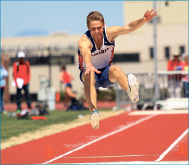 leap — Sophomore Kyle Wheeler finished third in the long jump. Photo credit: Kyle Milligan