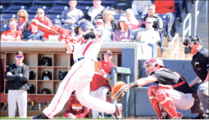 seeing the ball — The Flames found their stroke and connected for 30 hits during their series against Winthrop. Photo credit: Steven Abbott