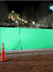 Downtown —A green screen was set up in front of Monument Stairs in downtown Lynchburg.  Photo provided