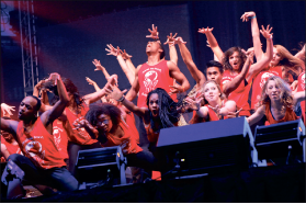 Liberty's D-Trex dance team wowed spectators at Coffeehouse.