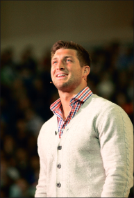 Former Jets quarterback Tim Tebow addressed students during Convocation, March 8.