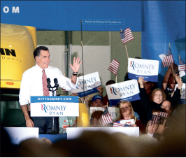 Republican       presidential candi-       date Mitt Romney        rallied in Roanoke and     	      Lynchburg.