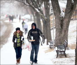 Students trudged        through numerous snow       storms during the winter        and spring.