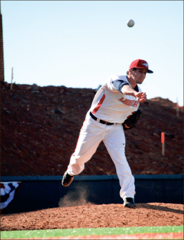 strike — Pitcher Brooks Roy threw seven innings and had five strikeouts in the 9-2 victory Saturday, April 13. Photo Credit: Steven Abbott