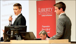 """Invest — Students tried to get a panel of judges to """"invest"""" in their ideas. Photo credit: Abby Kourkounakis"""