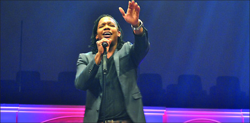 Solo — Michael Tait, alumnus and Newsboys lead singer, performed Sunday. Photo credit: Jill Springer