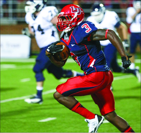 PICK-SIX — Fogg recorded his first career interception return for a touchdown versus Monmouth. Photo credit: Ruth Bibby