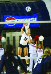 1,000 club — Lille Happel continues to add to her career mark in kills. Photo credit: Ruth Bibby
