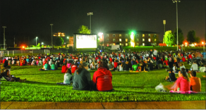 movie night — At least 1,000 students came to watch the baseball-themed movies. Photo credit: Jill Springer