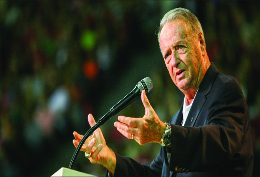 """guidance — Bowden shared stories of God's direction and provision throughout his life and encouraged students to """"put God first."""" Photo credit: Ruth Bibby"""