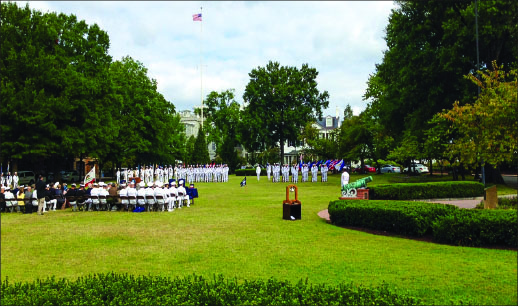 MOVING FORWARD — A change of command ceremony in the D.C. Navy Yard Monday, Sept. 23, signals a return to the routine after mourning. Photo provided