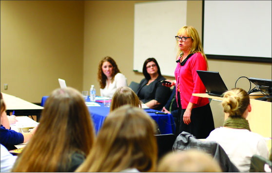 writers — Students listened to a panel of keynote speakers including Kate Shellnutt (seated left) and Suzanne Kuhn (seated right). Photo credit: Courtney Russo