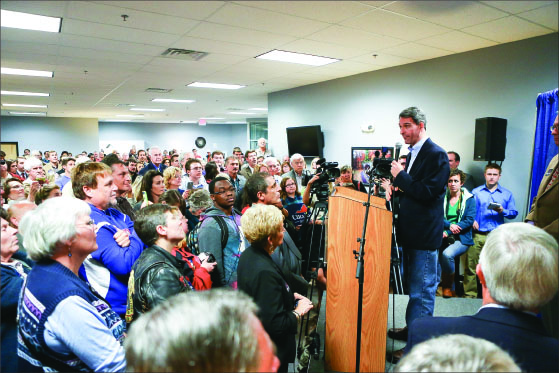 Politics — Cuccinelli discussed topics such as job creation, government limitations and electricity rates with Lynchburg locals. Photo credit: Courtney Russo