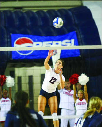 moving up — Lillie Happel moved to 11th all-time in Flames history in kills. Photo credit: Ruth Bibby