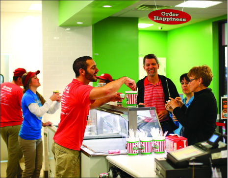 Welcome — Stephen Putney, Liberty's assistant director for Christian/Community Service, and family enjoy  Rita's, the newly opened dessert shop. Photo credit: Ruth Bibby